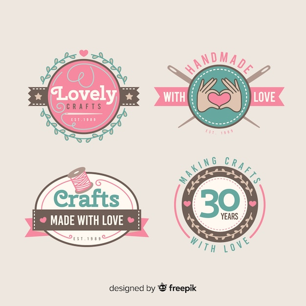 Lovely crafts label collection Free Vector