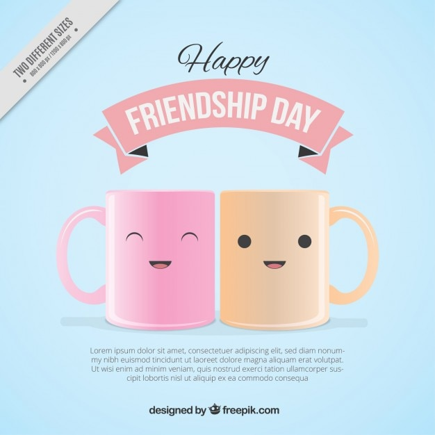 Lovely cups friendship day background Free Vector