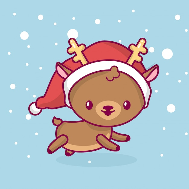 Lovely cute kawaii chibi. deer side view running under snow. merry christmas and a happy new year Premium Vector