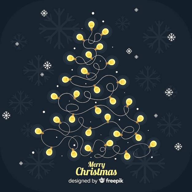 Lovely dark christmas background with light bulb tree Free Vector
