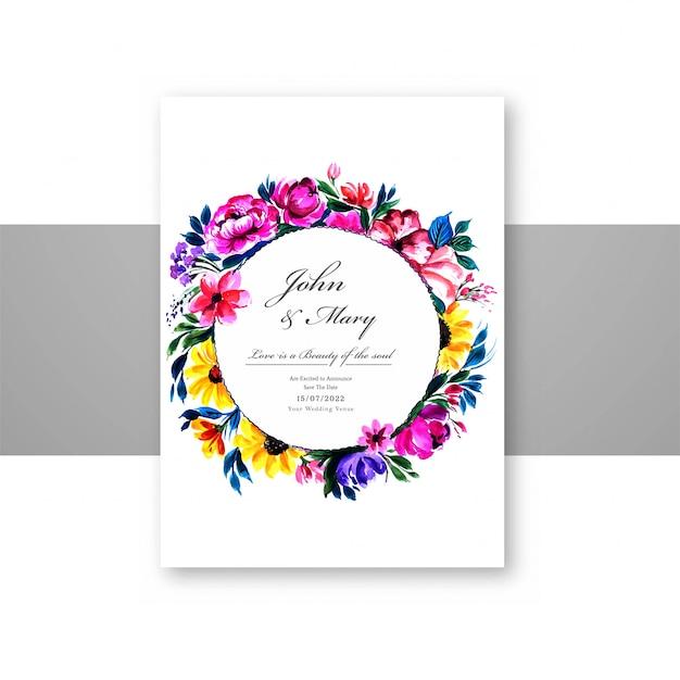 素敵な装飾花widdingカードテンプレート 無料ベクター