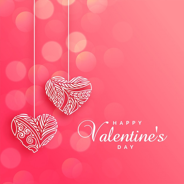 Lovely decorative hearts on pink bokeh background Free Vector
