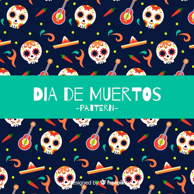 Lovely dia de muertos pattern background Free Vector