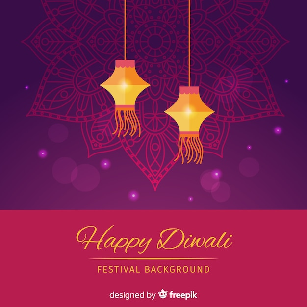 Lovely diwali background with flat design Free Vector