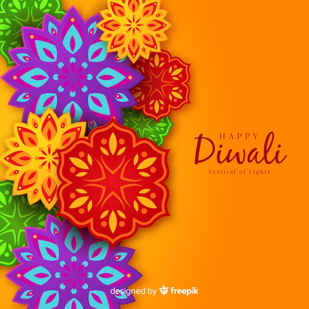 Lovely diwali background with origami style Free Vector