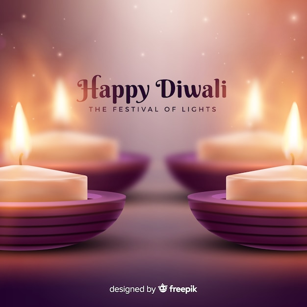 Lovely diwali background with realistic design Free Vector