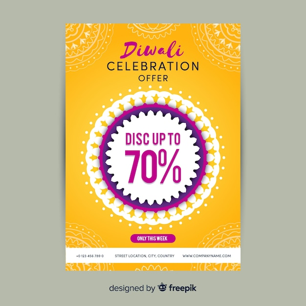 Lovely diwali sale flyer template with flat design Free Vector