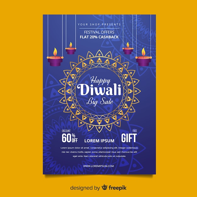 lovely diwali sale flyer template with flat design vector free