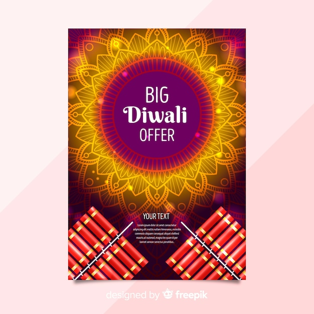 lovely diwali sale flyer template with realistic design vector