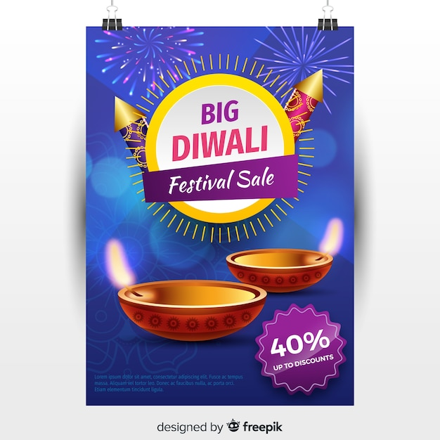 Lovely diwali sale flyer with realistic design Free Vector