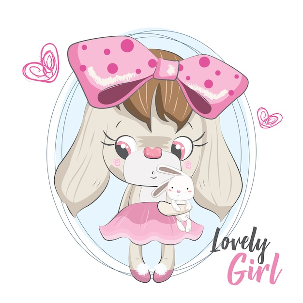 Lovely doggy with its doll Premium Vector