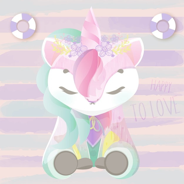 Lovely doodle baby unicorn in watercolor. Premium Vector