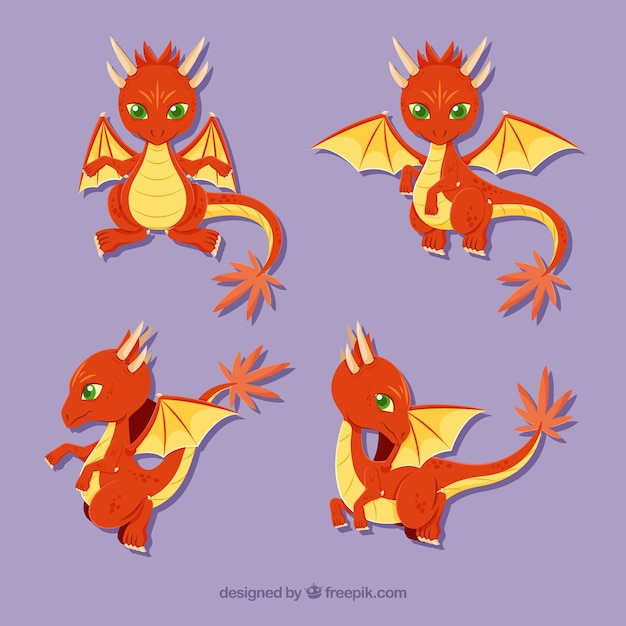 Character Design Vector Free Download : Lovely dragon character collection with flat design vector