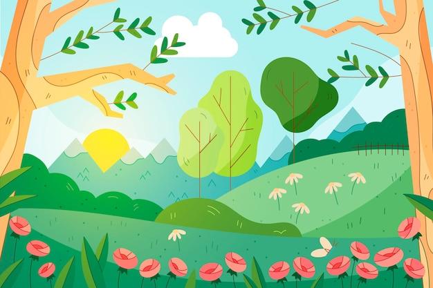 아름다운 그린 봄 풍경 배경 무료 벡터
