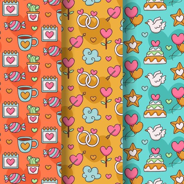 사랑스러운 그려진 발렌타인 패턴 컬렉션 무료 벡터