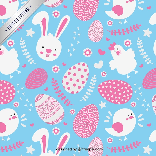 lovely easter pattern vector free download