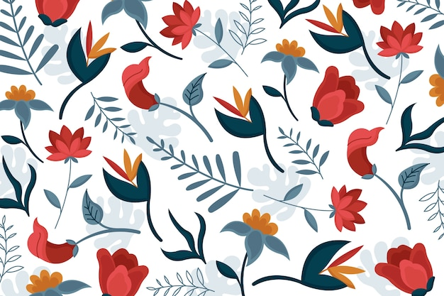 Lovely exotic floral wallpaper Free Vector