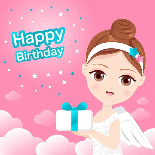Lovely fairy with a gift box Premium Vector