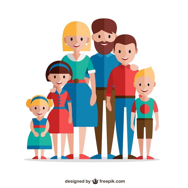 Lovely familiy in flat design Free Vector
