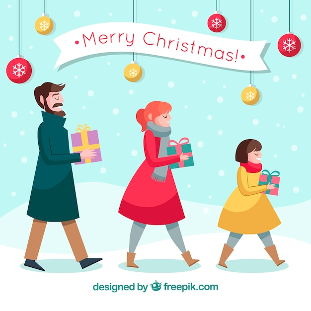 Lovely family background with christmas gifts Free Vector