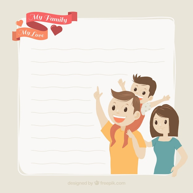 Lovely family background with letter Free Vector