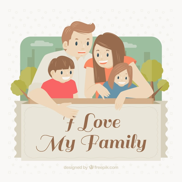 lovely family background with nice message vector free download