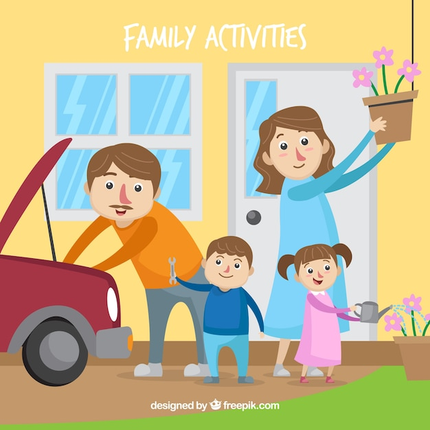 Lovely family doing different activities at home Free Vector