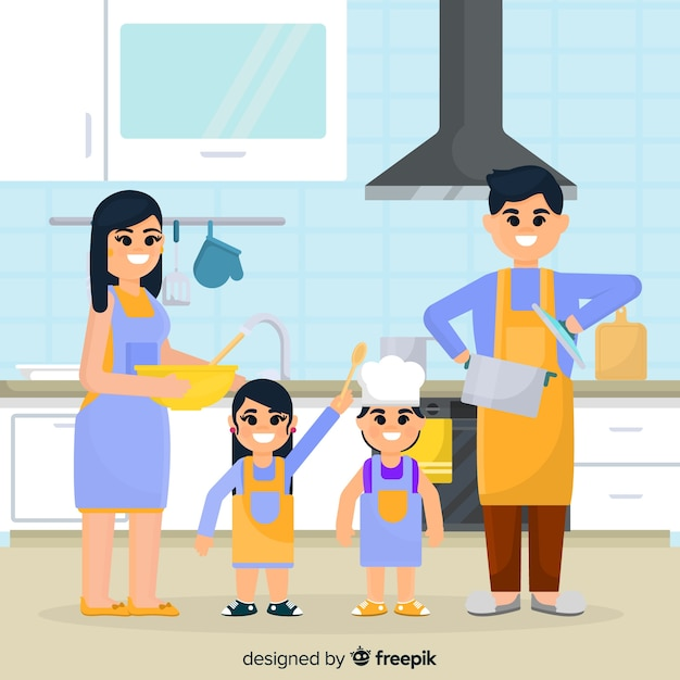 Lovely family at home with flat design Premium Vector