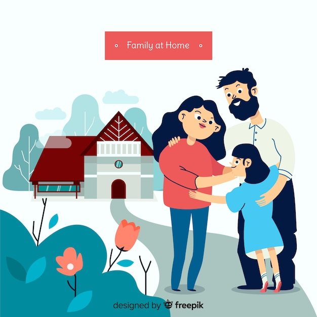 Lovely family at home with flat design Free Vector