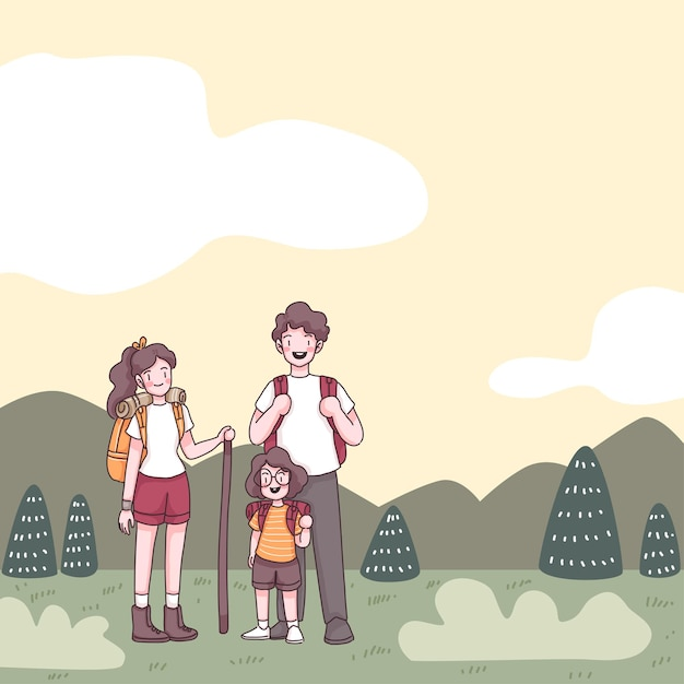 Lovely family with father, mother and cute girl, they has backpack to hiking in nature on summer hol