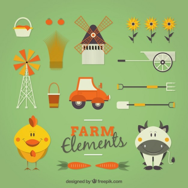 Lovely farm animals with elements in flat\ design