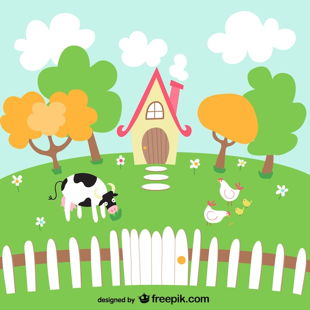 Lovely farm landscape with a cow Free Vector