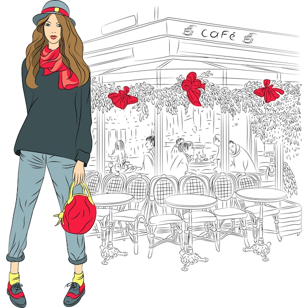 Lovely fashion girl in sketch-style on the background of the parisian cafe Premium Vector