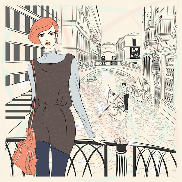 Lovely fashion girl in sketch-style on a venice background Premium Vector