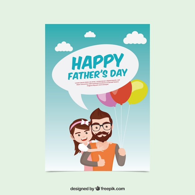 Lovely father card with his daughter