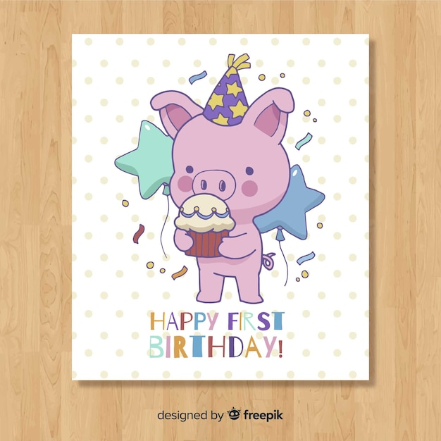 Lovely first birthday card design Free Vector
