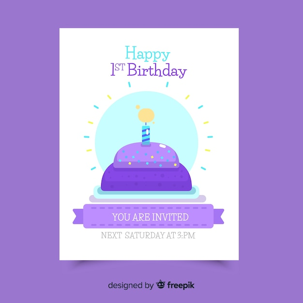 Lovely First Birthday Invitation Card Template Vector Free