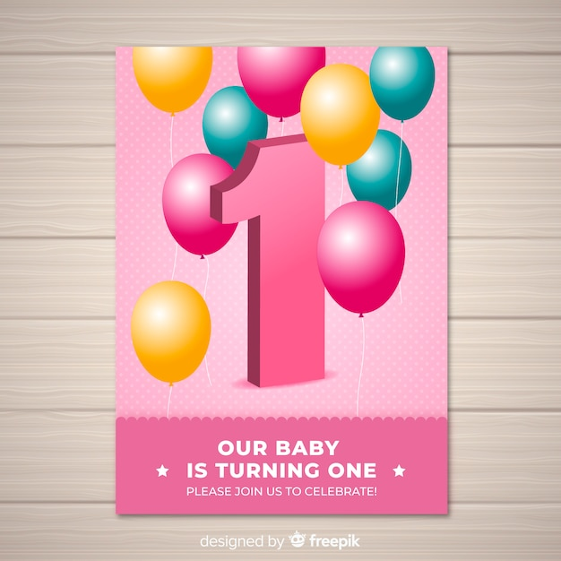 lovely first birthday invitation template vector free download