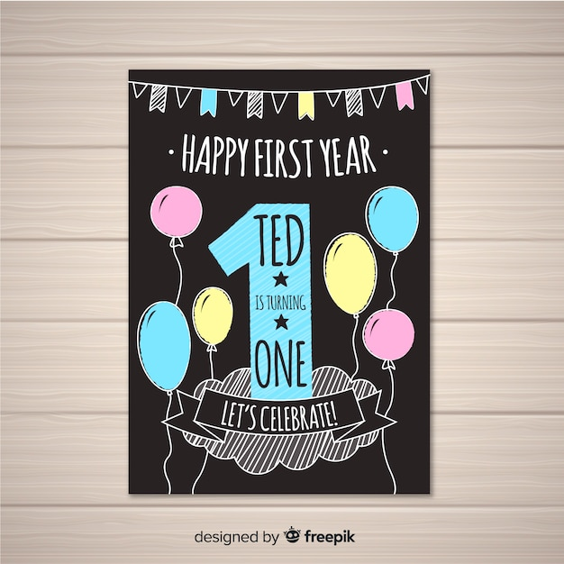 Lovely First Birthday Invitation Template Free Vector