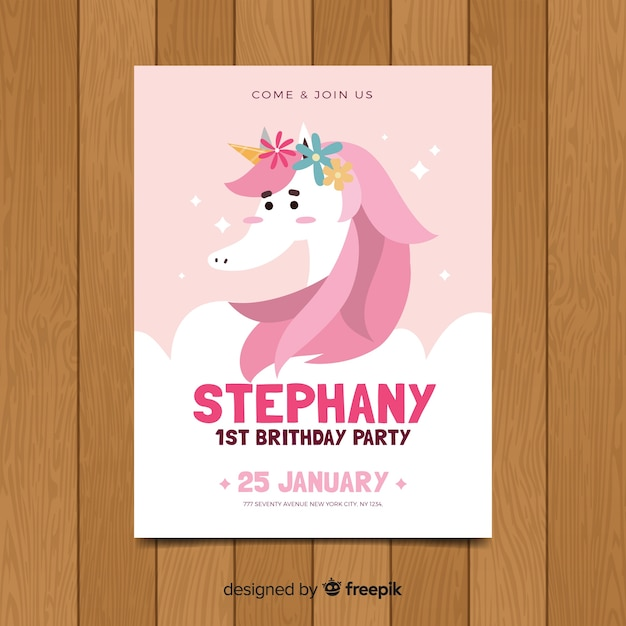 Lovely first birthday invitation template Vector | Free Download