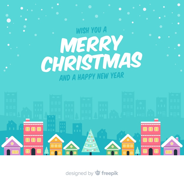 Lovely flat christmas town background Free Vector
