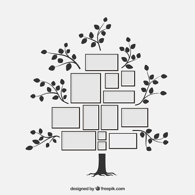 Lovely flat tree with photo frames Vector | Free Download