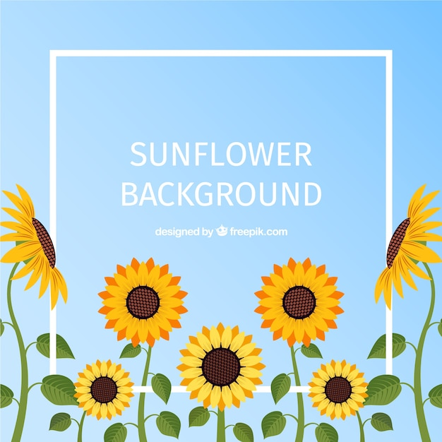 Lovely floral background with flat design Premium Vector