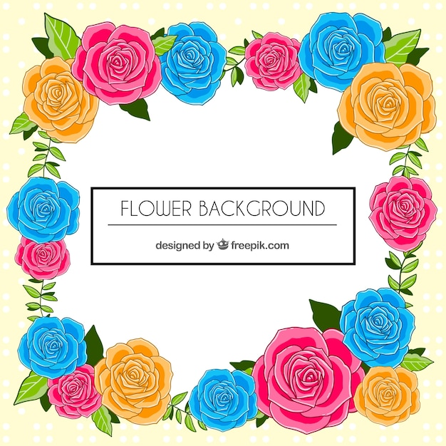 Lovely floral background with flat roses