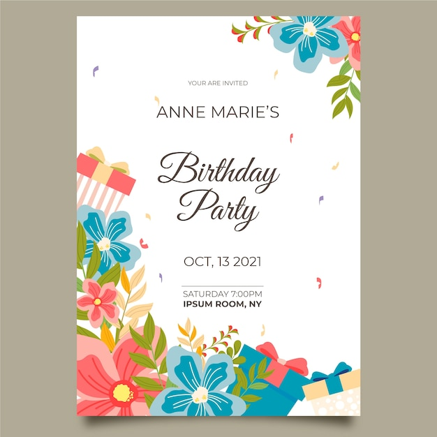 Lovely floral birthday card Free Vector