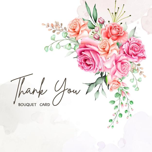 ありがとうメッセージと素敵な花カード Premiumベクター