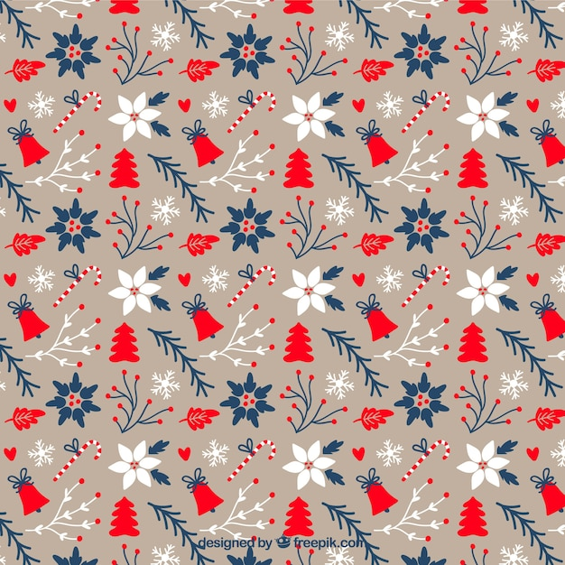 Lovely floral christmas pattern Free Vector