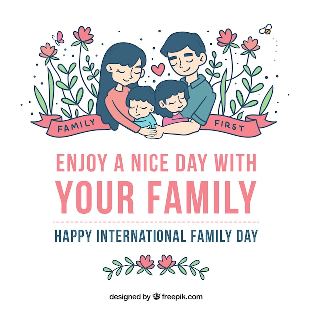 lovely floral family day background vector