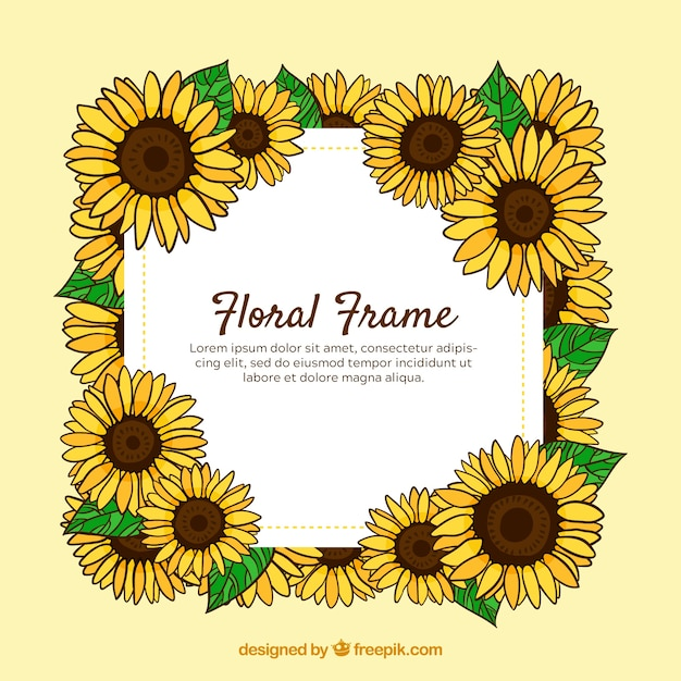 Lovely floral frame with hand drawn style Free Vector