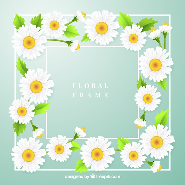 Lovely floral frame with realistic style Free Vector